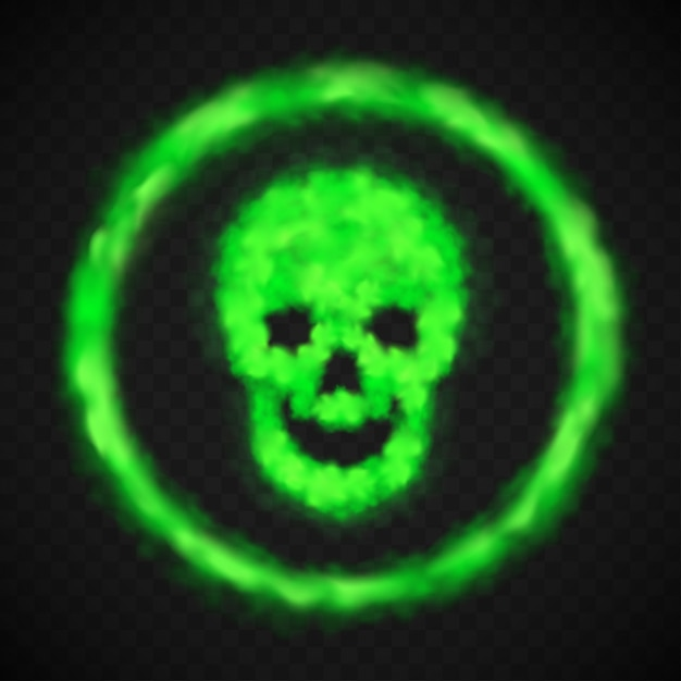 Green smoke skull warning danger sign Free Vector