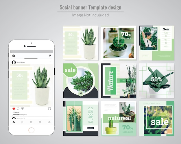 Green social media post template Premium Vector