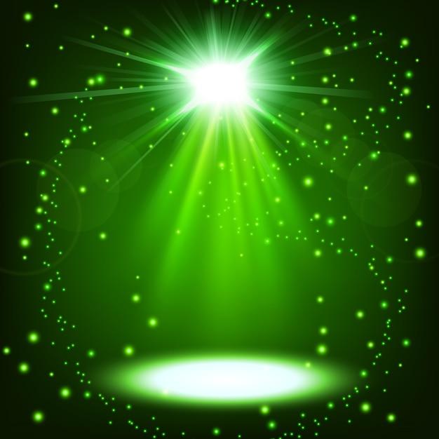 振りかけると緑色のスポットライトが輝きます Premiumベクター