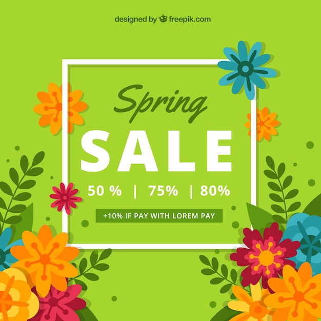 Green spring sale background Free Vector
