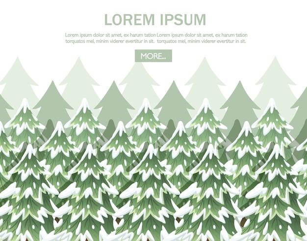 緑のトウヒの風景です。緑のトウヒの木のコレクション。エバーグリーン。雪の中でクリスマスツリー。白い背景のイラスト。 Premiumベクター