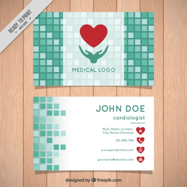 Green squares medical business card vector premium download green squares medical business card premium vector stopboris Choice Image