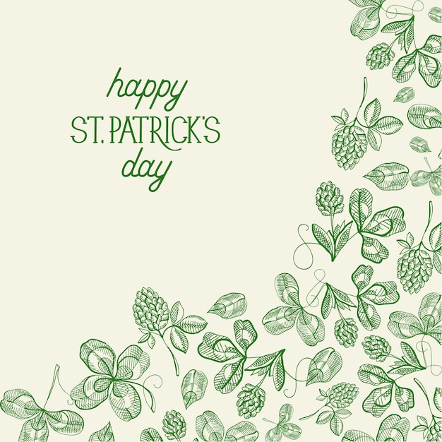 Green st patricks day botanical greeting card with inscription and hand drawn irish clover vector illustration Free Vector