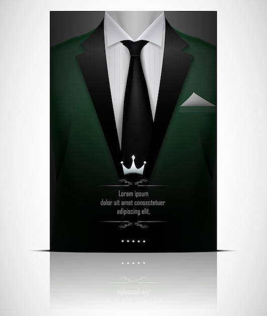 Green suit and tuxedo with black tie Premium Vector