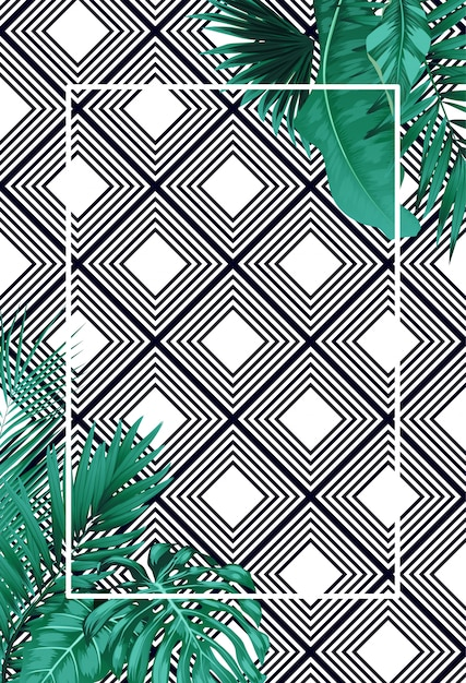 Green summer with tropical leaves on  pattern Premium Vector