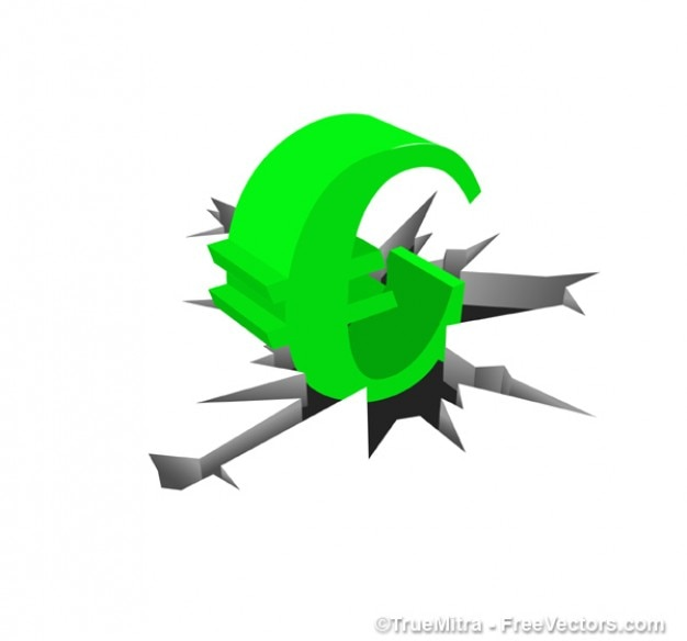 Green Symbol Of The Euro Vector Free Download