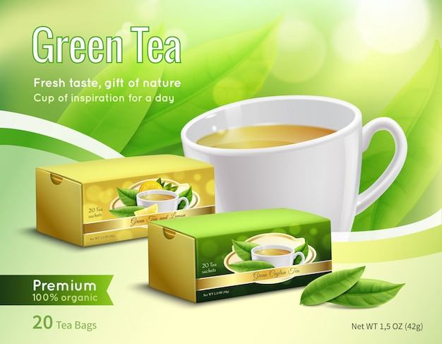 Green tea advertising realistic composition Free Vector