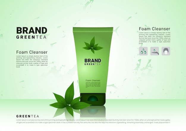 Green tea cleansing foam with soft Premium Vector