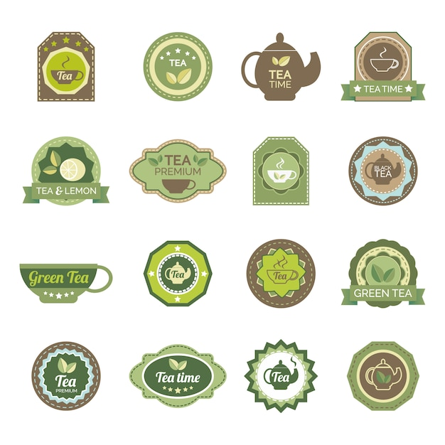 Green tea labels icons set Free Vector