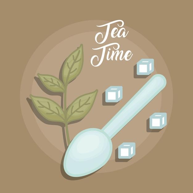 Green tea leaves with crystal sugar Premium Vector