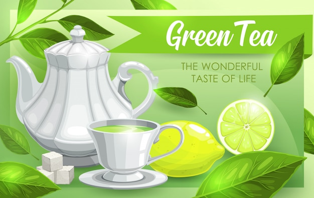 Green tea, lime and leaves, tea pot and cup Premium Vector