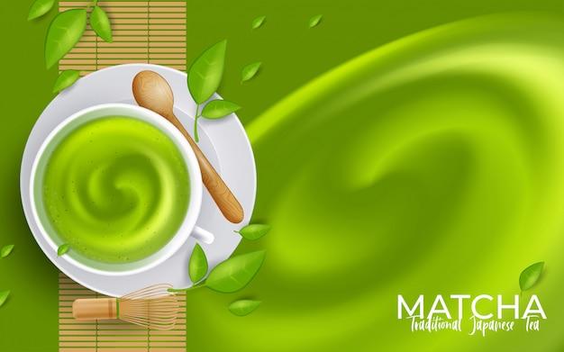 Чашка латте matcha зеленого чая с copyspace. иллюстрация Premium векторы