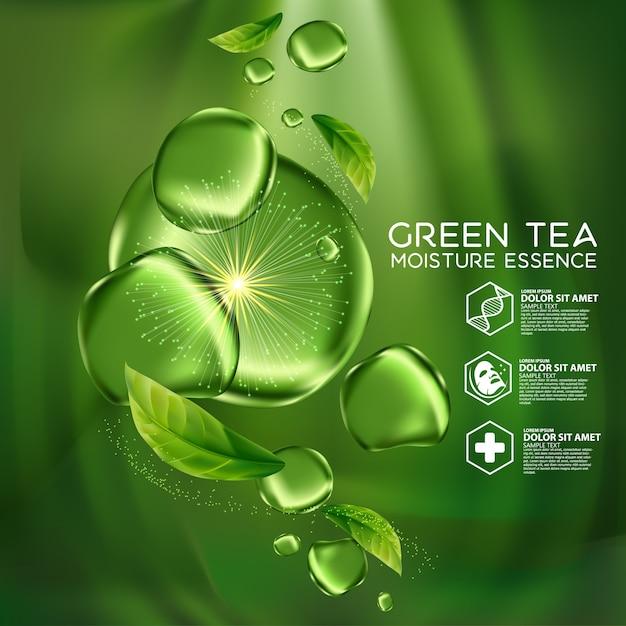 Косметическая эссенция для ухода за кожей с экстрактом зеленого чая. Premium векторы