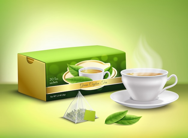 Green tea packaging realistic design Free Vector