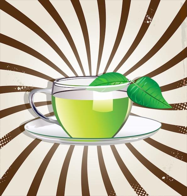 緑茶のレトロな背景 Premiumベクター
