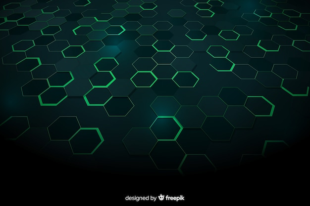 Green technological honeycomb background Free Vector