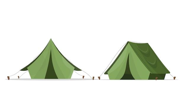 キャンプ用の緑のテント。白い背景で隔離。 。 Premiumベクター