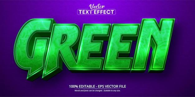 녹색 텍스트, 만화 스타일 편집 가능한 텍스트 효과 프리미엄 벡터