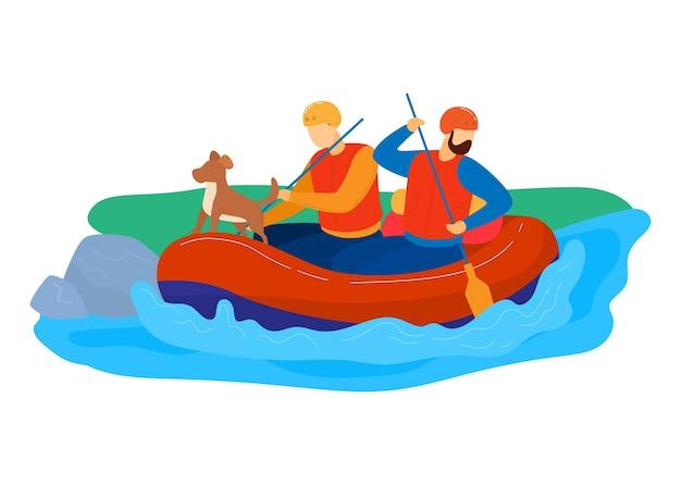 グリーン・ツーリズム、アクティブなライフスタイルアウトドアラフティングリバー、ウォータースポーツ、漫画スタイルのイラスト、白で隔離。男性は川、人とボートのパドルで犬を旅行、自然の中での休暇 Premiumベクター