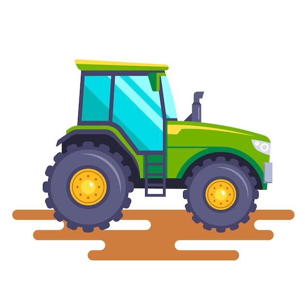 Green tractor on the field on a white background.  illustration. Premium Vector