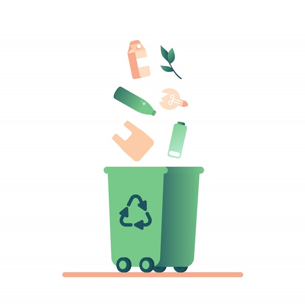 Green trash bin and falling waste (plastic, paper, lamp, battery, glass, organic) for recycling Premium Vector
