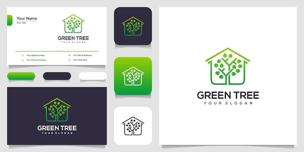 緑の木のロゴのデザインと名刺 Premiumベクター
