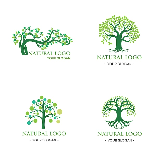Green tree logo design natural and abstract leaf Premium Vector
