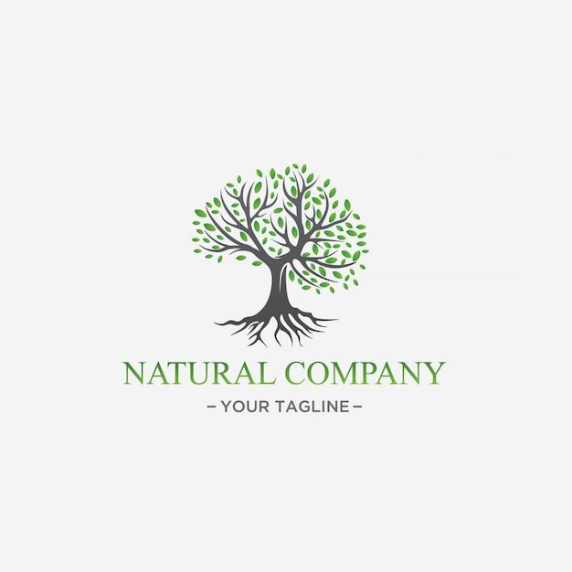 Green tree logo design natural leaf premium vector Premium Vector