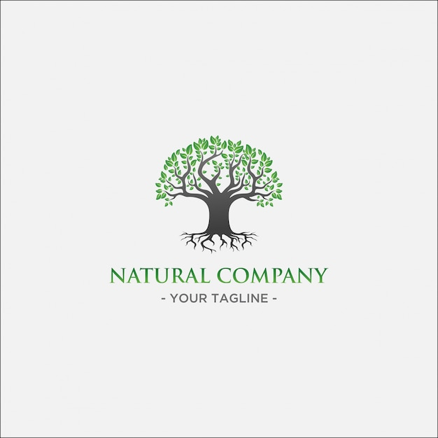 Green tree logo with green leaf and black branch Premium Vector