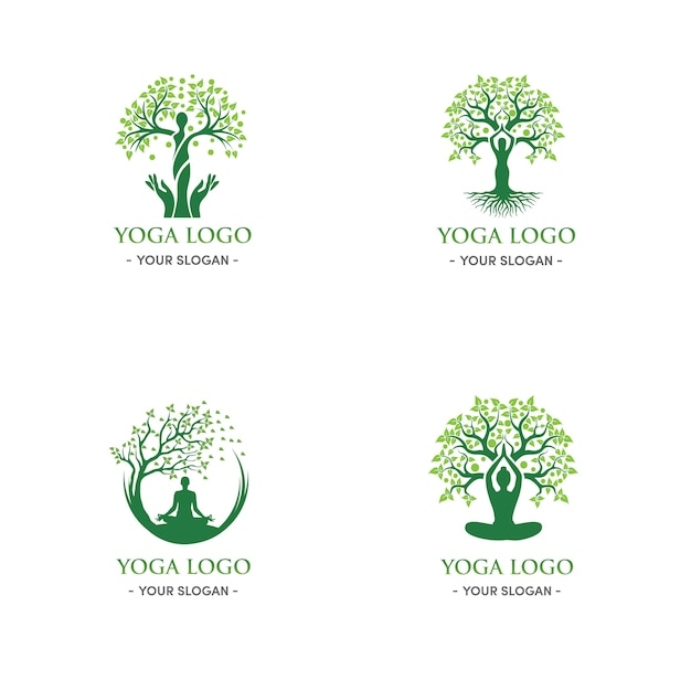 Green tree natural and relaxation woman yoga logo Premium Vector