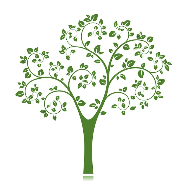 Green tree silhouette isolated Free Vector