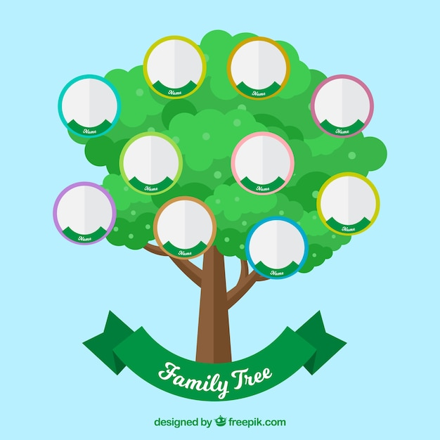 Green tree with circles for family\ members