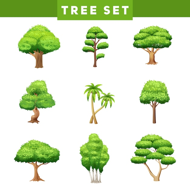 Green trees flat pictograms collection with various foliage and crown shapes Free Vector