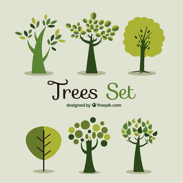 Green trees set Premium Vector