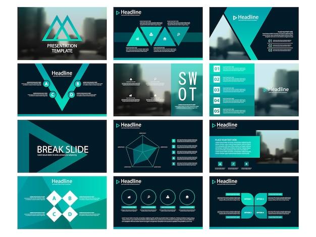 green triangle presentation templates infographic vector premium