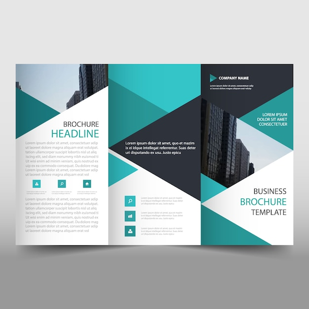 green trifold business brochure template with triangular shapes vector