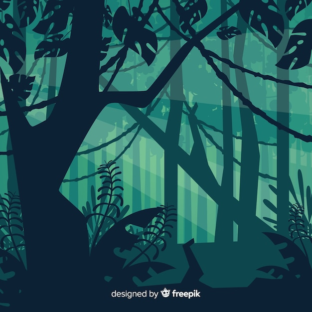 Green tropical forest landscape Free Vector