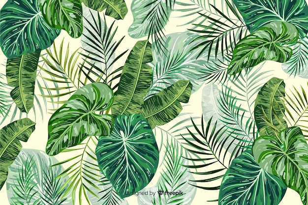 Green tropical leaves decorative background Free Vector