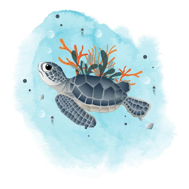 モルディブのアオウミガメ、海洋ウェブテンプレートの奥深く。 Premiumベクター