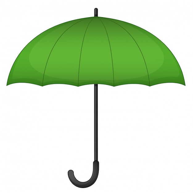 Green umbrella on white Free Vector