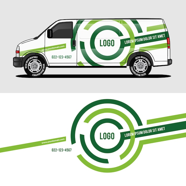 Green van wrap design wrapping sticker and decal design Premium Vector