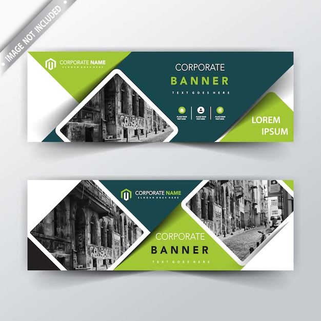 Green Vector Back And Front Banner Design Free Vector