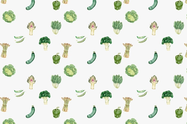 Green vegetables pattern vector Free Vector