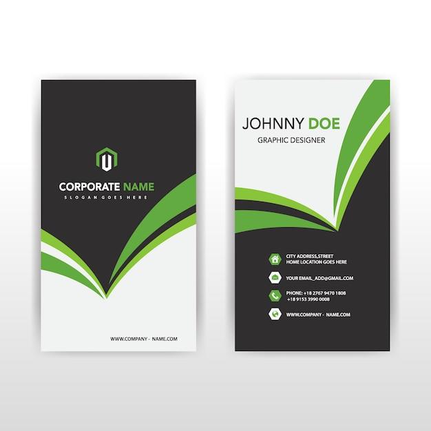 Green Vertical Business Card Free Vector