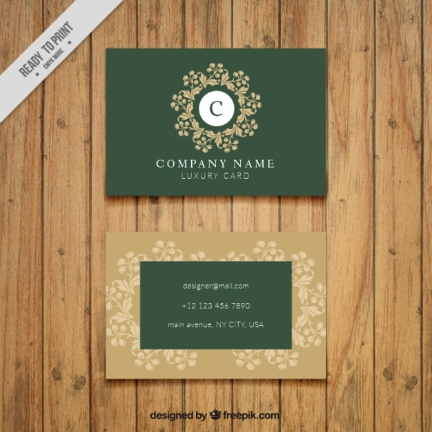 Green vintage business card vector free download green vintage business card free vector reheart Gallery