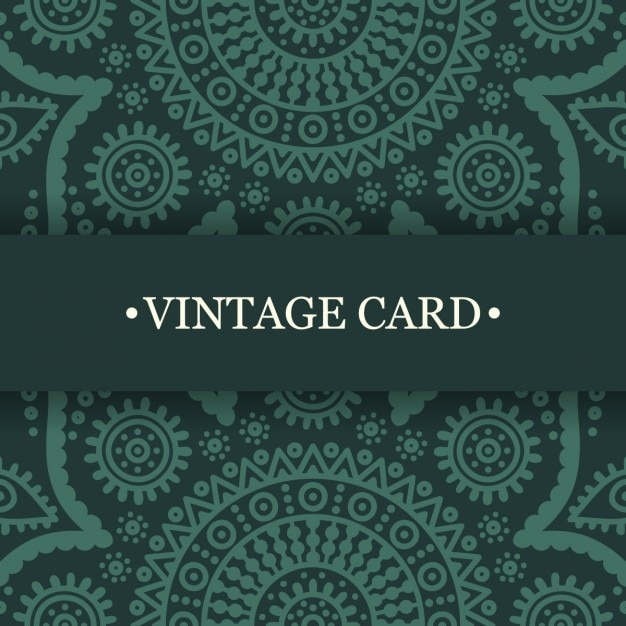 Green vintage card of ethnic decoration Vector | Free Download