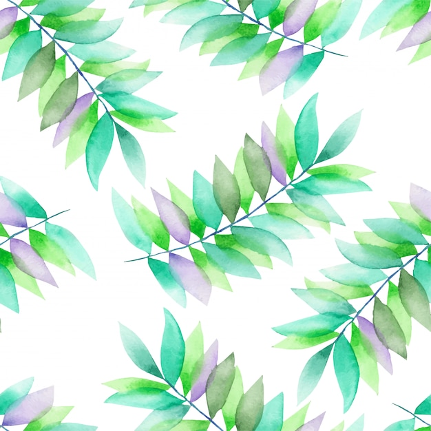 Green and violet leaves on branches watercolor pattern Premium Vector