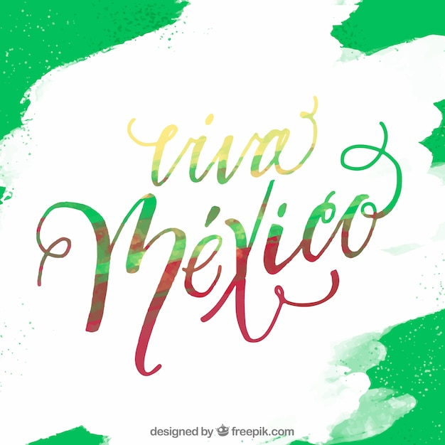 Green viva mexico lettering background Free Vector
