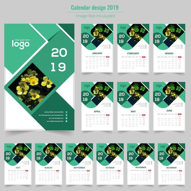 Kalender dinding hijau 2019 Vektor Premium