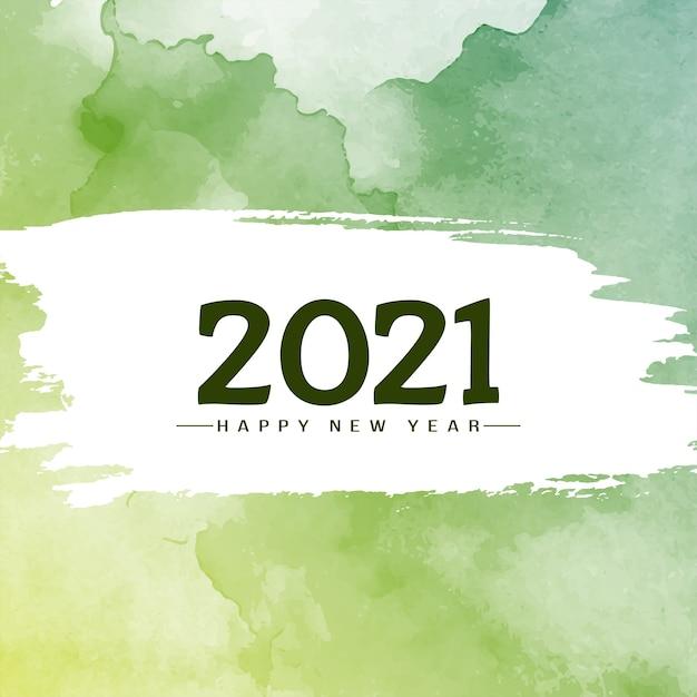 Acquerello verde felice anno nuovo 2021 sfondo Vettore gratuito